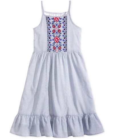 Epic Threads Little Girls Embroidered Striped Dress, Created for Macy's
