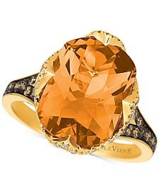 Chocolatier® Cinnamon Citrine® (5-1/5 ct. t.w.) & Diamond (1/2 ct. t.w.) Ring in 14k Gold