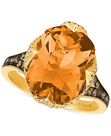 Le Vian Chocolatier® Cinnamon Citrine® (5-1/5 ct. t.w.) & Diamond (1/2 ct. t.w.) Ring in 14k Gold