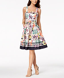Vince Camuto Cotton Floral Stripe Fit & Flare Dress