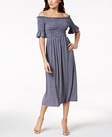 Vince Camuto Smocked Off-The-Shoulder Midi Dress