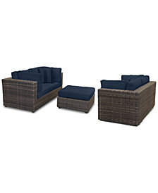 Viewport Outdoor 5-PC Loveseat Modular Seating Set (2 Loveseats, and 1 Ottoman) with Custom Sunbrella® Cushions, Created for Macy's