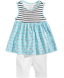First Impressions Baby Girls Graphic-Print Tunic & Bermuda Shorts Separates, Created for Macy's