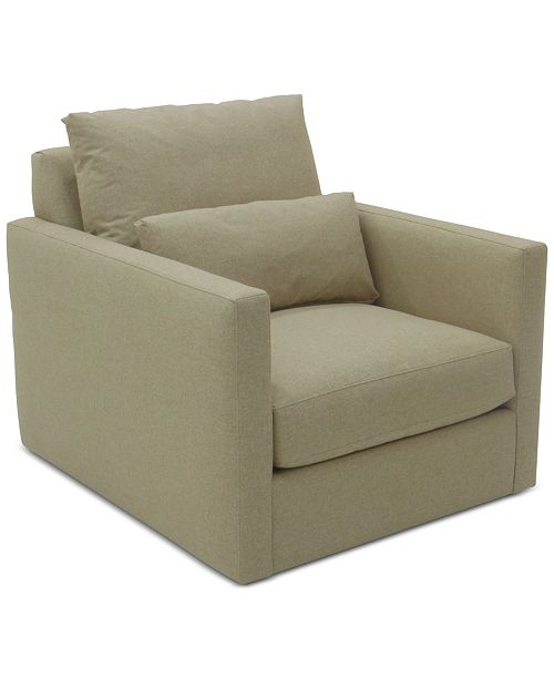 Furniture Elmie 37'' Fabric Swivel Chair, Created for Macy's