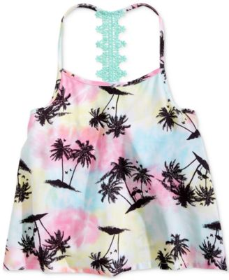 Big Girls Lace-Strap Palm Tree-Print Tank Top, Created for Macy's