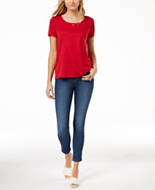 Maison Jules Scoop-Neck T-Shirt & Skinny Jeans, Created for Macy's