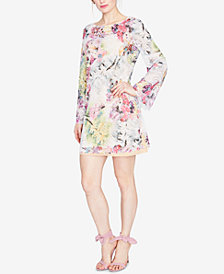 RACHEL Rachel Roy Bell-Sleeve Floral Printed Lace Dress