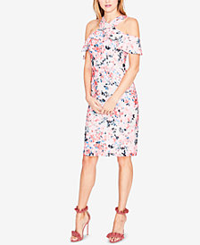 RACHEL Rachel Roy Cold-Shoulder Floral Lace Dress