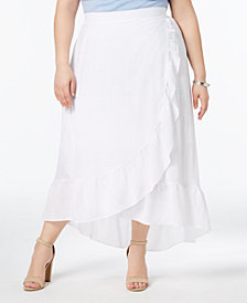 NY Collection Plus & Petite Plus Size Ruffled Wrap Skirt