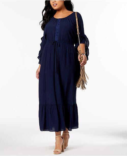 bffb0bb465d ... NY Collection Plus   Petite Plus Size Crochet-Trim Peasant Maxi Dress  ...