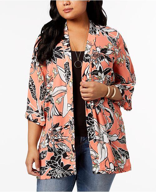 NY Collection Plus Size Printed Kimono Jacket