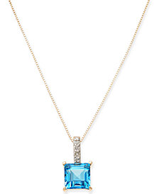 "Blue Topaz (1-3/8 ct. t.w.) & Diamond Accent 18"" Pendant Necklace in 14k Gold"