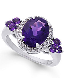 Amethyst (3-1/10 ct. t.w.) & Diamond (1/4 ct. t.w.) Ring in Sterling Silver