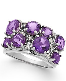 Amethyst (3-3/8 ct. t.w.) & Diamond (1/10 ct. t.w.) Ring in Sterling Silver