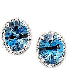 London Blue Topaz (4-1/2 ct. t.w.) and Diamond (1/8 ct. t.w.) Oval Stud Earrings in 14k White Gold