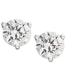 Near Colorless Certified Diamond Stud Earrings in 18k White or Yellow Gold (1-1/4 ct. t.w.)