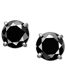 14k White Gold Earrings Black Diamond Stud 2 Ct T W