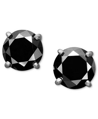 14k White Gold Earrings Black Diamond Stud Earrings 2 ct t w