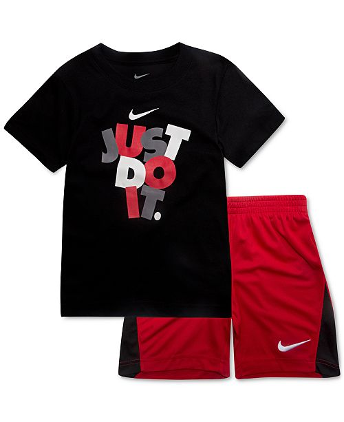 db74c6d701 Nike 2-Pc. Toddler Boys Just Do It-Print T-Shirt & Shorts Set ...