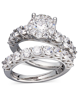 diamond bridal ring set in 14k white gold or gold 2 ct t