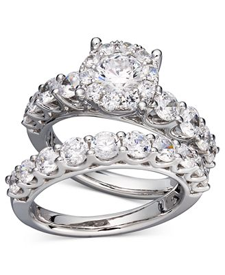 Diamond Bridal Ring Set in 14k White Gold 2 ct tw Rings