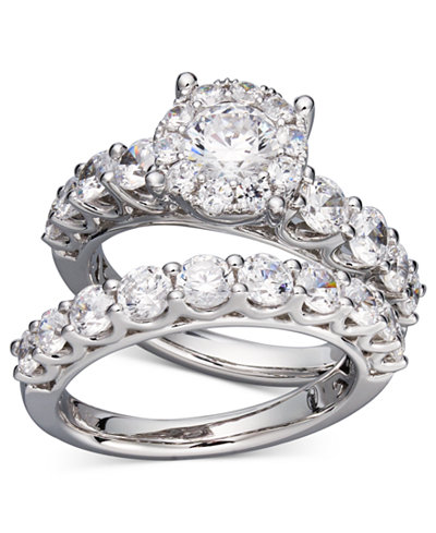 diamond bridal ring set in 14k white gold or gold 2 ct tw - Diamond Wedding Ring Sets