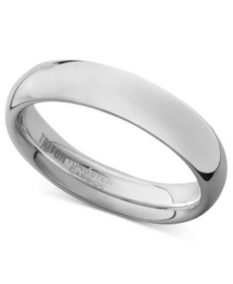 Triton Mens White Tungsten Carbide Ring Dome Wedding Band 5mm