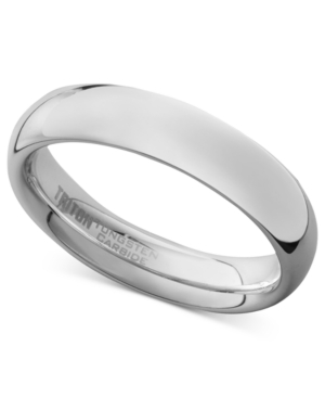Triton Men's White Tungsten Carbide Ring, Dome Wedding Band (5mm)