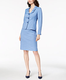 Le Suit Glazed Melange Three-Button Skirt Suit