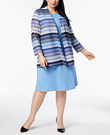 Kasper Plus Size Lace Cardigan & Swing Dress