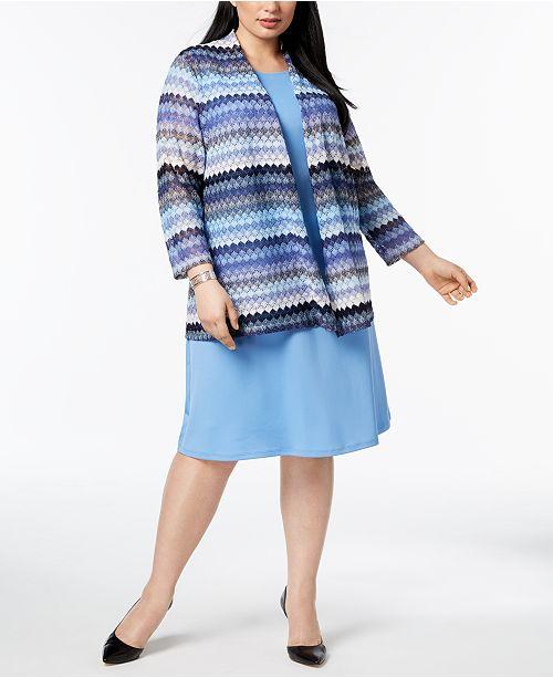 d05bf9e072e6 Kasper Plus Size Lace Cardigan & Swing Dress - Wear to Work - Women ...