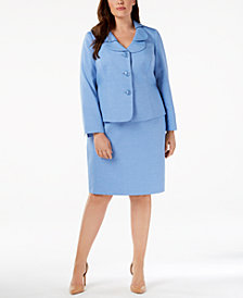 Le Suit Plus Size Shawl-Collar Skirt Suit