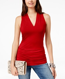 I.N.C. Ruched V-Neck Top, Created for Macy's