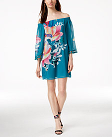 Trina Turk Amaris Floral-Print Off-The-Shoulder Dress