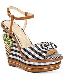 Jessica Simpson Azeena Gingham Wedge Sandals