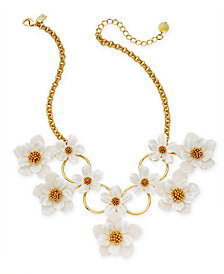 "kate spade new york Gold-Tone Flower Statement Necklace, 17"" + 3"" extender"