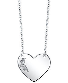 "Unwritten Feather Heart 18"" Pendant Necklace in Sterling Silver"