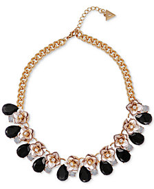 "GUESS Gold-Tone Crystal & Stone Flower Collar Necklace, 16"" + 2"" extender"