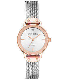Anne Klein Women's Silver-Tone Bracelet Watch 26mm