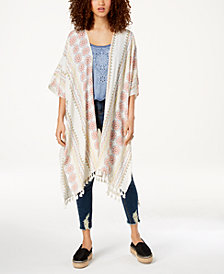 American Rag Juniors' Printed Tasseled Kimono, Created for Macy's
