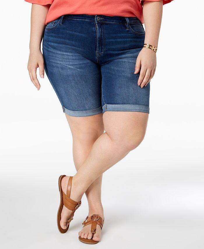 Tommy Hilfiger - Plus Size Cuffed Denim Shorts, Dark Blue Wash