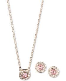 "Givenchy 2-Pc. Set Crystal Halo Pendant Necklace, 16"" + 3"" extender & Matching Stud Earrings"
