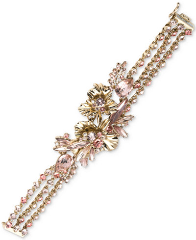 Givenchy Gold Tone Crystal Multi Strand Statement Bracelet