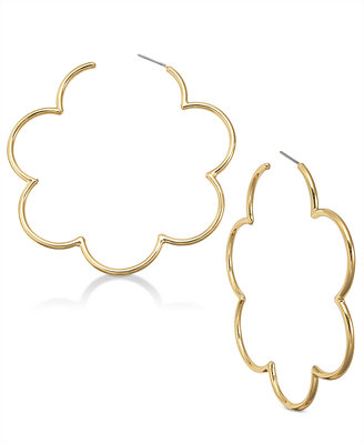 14k Gold Plated Scallop Hoop Earrings by Kate Spade New York