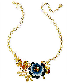 "kate spade new york Gold-Tone Denim Flower Statement Necklace, 17"" + 3"" extender"