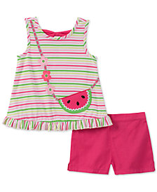 Kids Headquarters Little Girls 2-Pc. Striped Purse Tank Top & Shorts Set