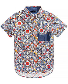 Sean John Big Boys Tile-Print Cotton Shirt