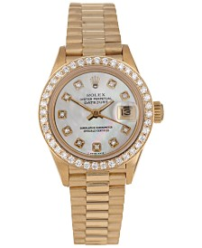 Pre-Owned Rolex Women's Swiss Automatic Datejust Presidential Diamond (3/4 ct. t.w.) 18K Gold Bracelet Watch 26mm