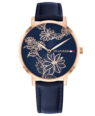 Women's Navy Leather Strap Watch 35mm by Tommy Hilfiger