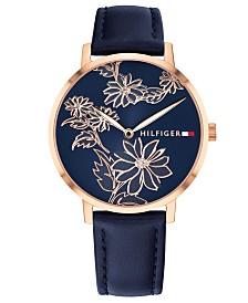Tommy Hilfiger Women's Navy Leather Strap Watch 35mm